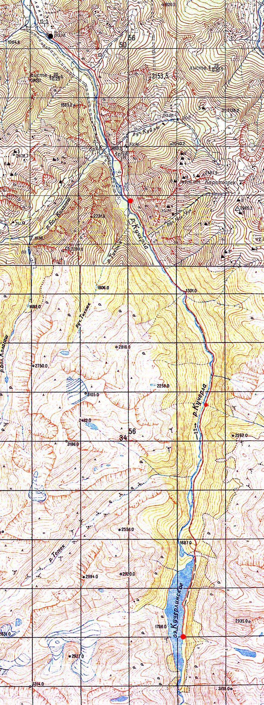 Карта пути до Кучерлинского озера