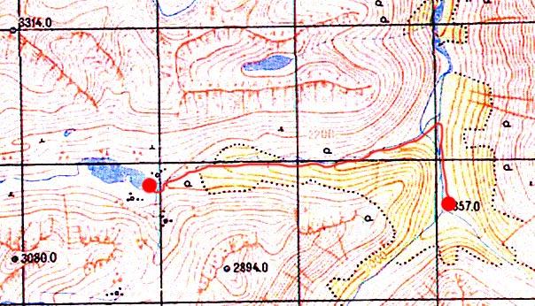 Карта перехода от стрелки до Дарашколя