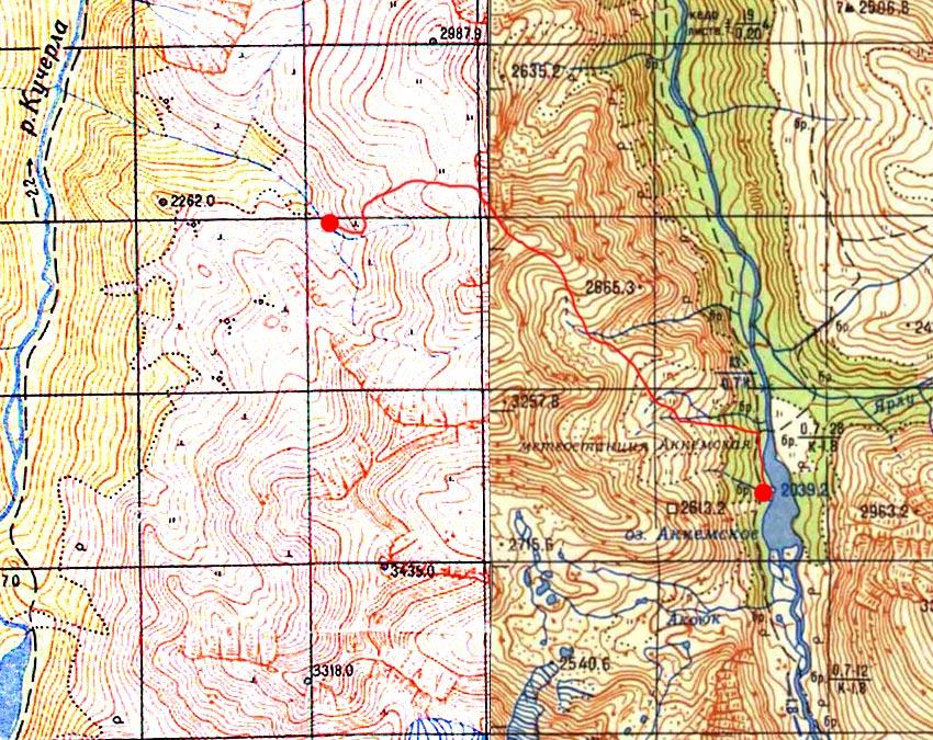 Карта пути через перевал Каратюрек