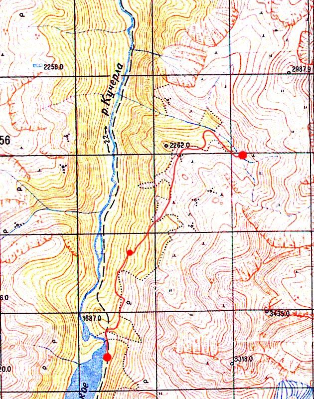 Карта подъёма от Кучерлинского озера к верховьям р. Текелюшка