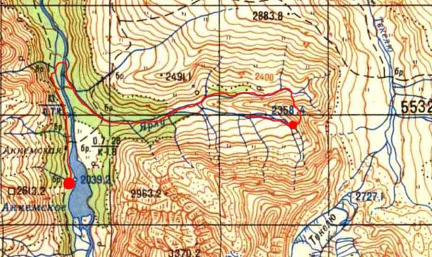 Карта первой половины радиалки (оз. Аккем - Ярлу)