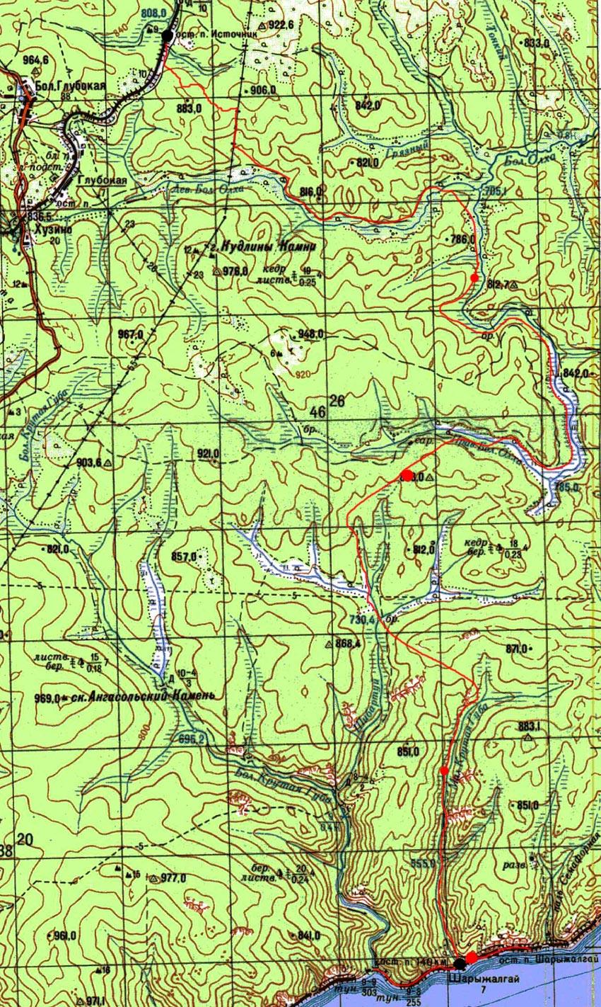 Карта пути маршрута от Источника до Шарыжалгая