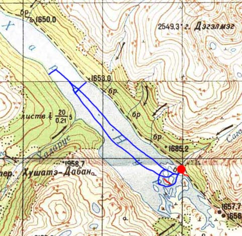 Карта наших плаваний по Хара-Нуру во второй день