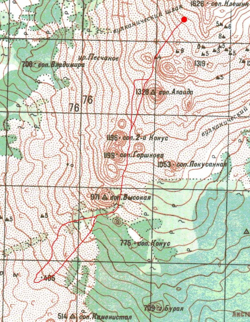 Карта радиалки к пещерам
