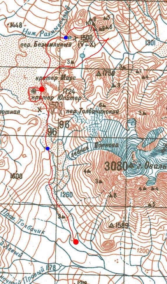 Карта 3-го дня пути и радиалки на Поленницу и домик Плотина