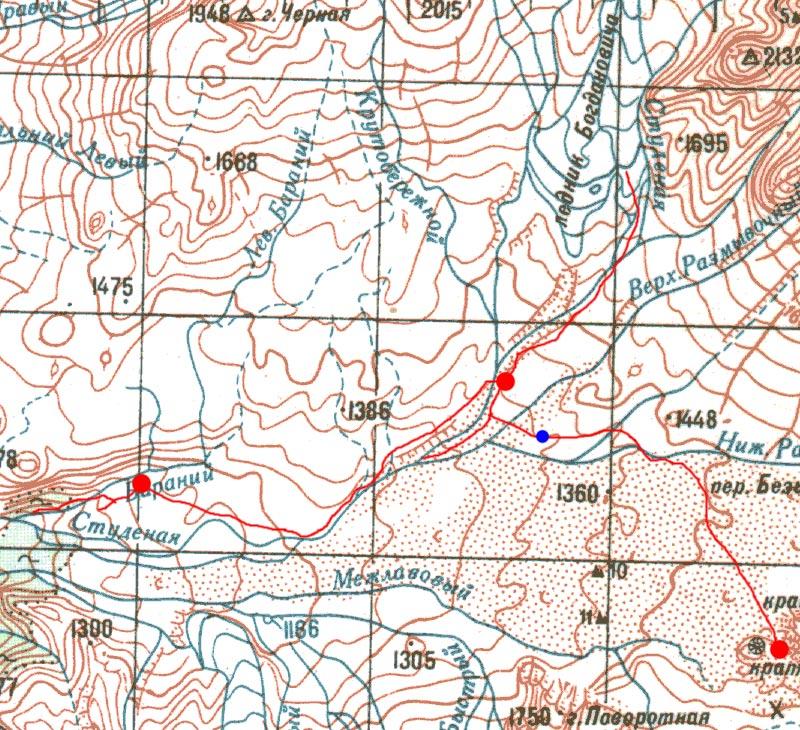 Карта пути от кратера Юпитер через р. Студёная до Лоскутовских стоянок