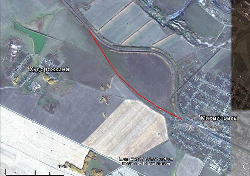 Спутниковый снимок старого пути около станции Половина