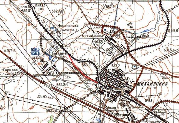Карта старого пути около станции Половина