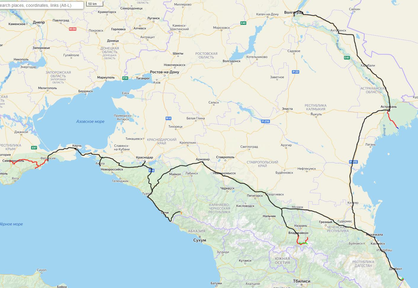 Карта летнего путешествия