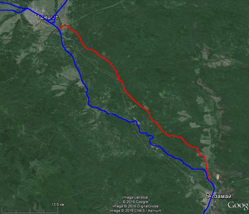 Спутниковый снимок старого пути на участке Тайшет - Алзамай