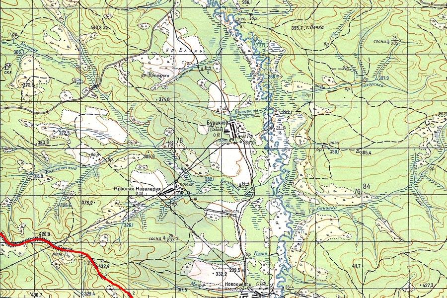 Карта старого пути на участке Тайшет - Алзамай