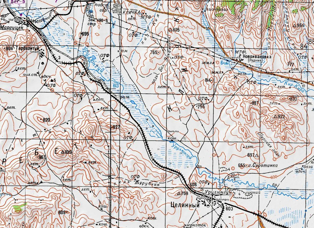 Карта участка приаргунской линии