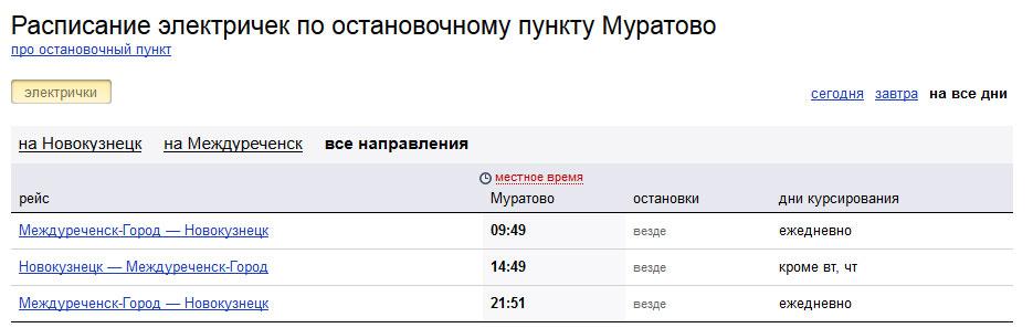 Расписание Муратово